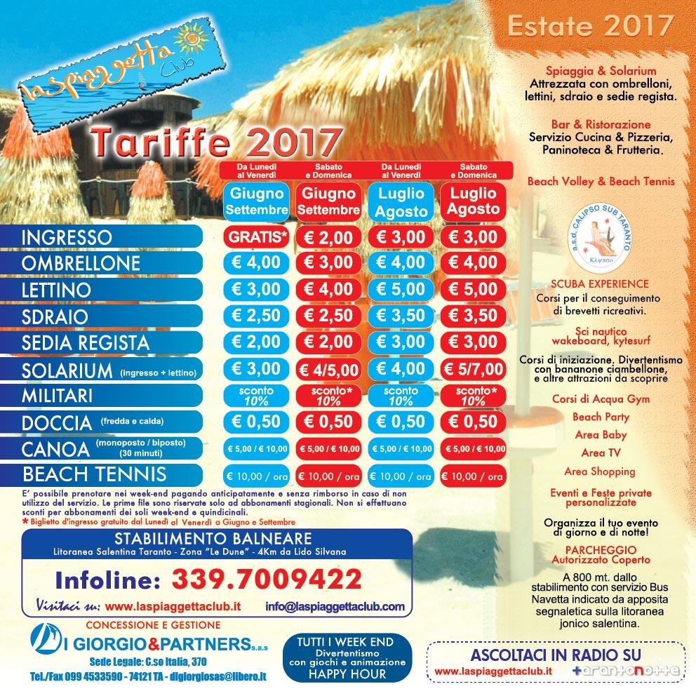 Tariffe 2017 - La Spiaggetta Club